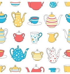 Seamless pattern tea ware vector image