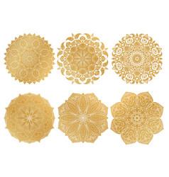 set of 6 hand-drawn gold arabic mandala on white vector image