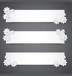 set of banners with white flowerspraznichnye vector image