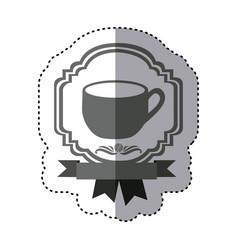 Sticker monochrome silhouette border heraldic vector