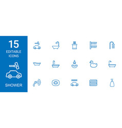 15 shower icons vector image