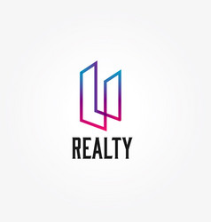 abstract realty property building architect logo vector image