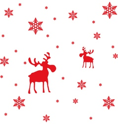 Abstract Red Moose and Snowflakes vector