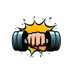 arm with dumbbell gym club logo vector image