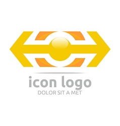 Arrow yellow design symbol abstract vector