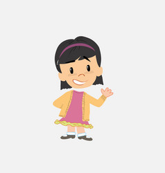 Asian girl showing something in positive attitude vector