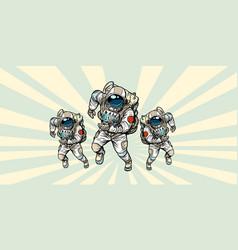 Astronauts heroic team vector