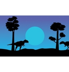 At the night mapusaurus scenery of silhouettes vector