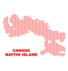 baffin island map - mosaic of valentine hearts vector image