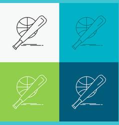 baseball basket ball game fun icon over various vector image