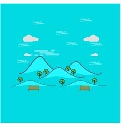 Beautiful mountain landscape outline vector
