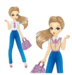 Bisness Girl In Blue Trousers vector