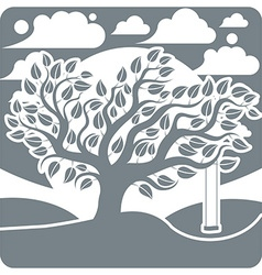 Branchy tree with swing on beautiful cloudy winter vector