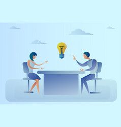 business man and woman sitting at desk discuss new vector image