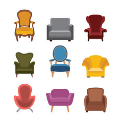 Chairs and armchairs icons set furniture vector