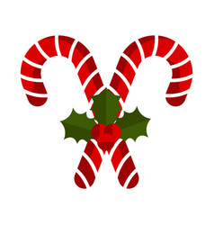 christmas cane with holly leaves icon vector image