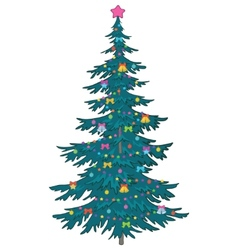 christmas tree with ornaments vector image vector image