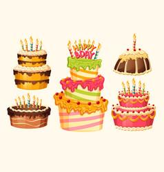 collection cartoon birthday cakes vector image