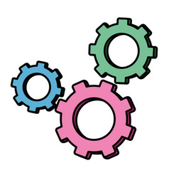 Color industry gears engineering technology vector