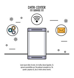 colorful poster of data center service with vector image