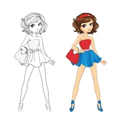 Coloring Book Of Pinup Girl vector