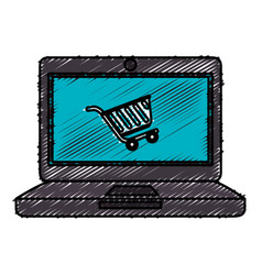 Computer laptop with cart shopping isolated icon vector