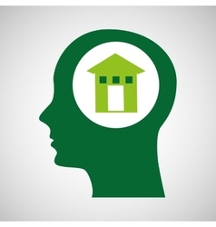 concept environment house silhouette head vector image