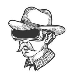Cowboy in vr helmet glasses sketch engraving vector