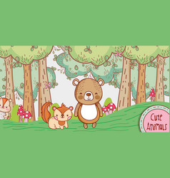 Cute bear and fox in the forest doodle cartoon vector