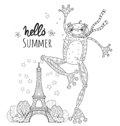Cute Frog Boy in Paris vector