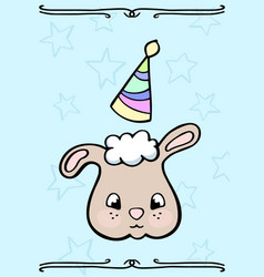 cute sheep in party hat doodle card vector image