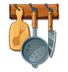 Cutting board colander knife kitchen implements vector