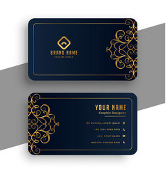 Decorative premium black and gold business card vector