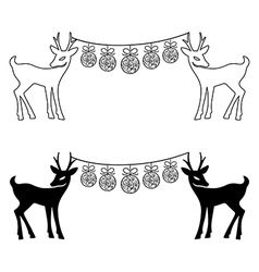 Deers Christmas balls set silhouettes vector image