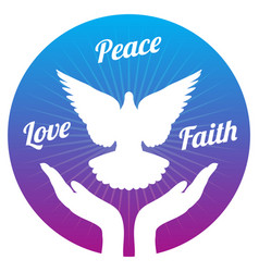 dove peace flying from hands in sky love freedom vector image