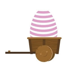 Easter egg in wagon icon vector