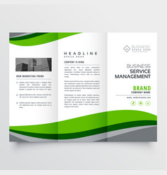 Elegant green business trofold brochure vector