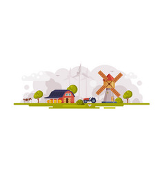 Farm scene with red barn windmill and wind vector