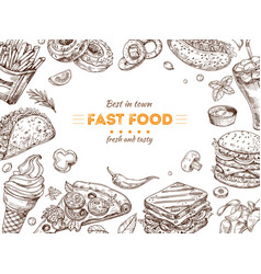 fast food background sketch drawing hamburger vector image
