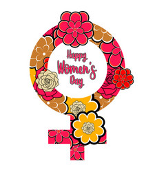 female gender symbol with flowers happy women day vector image