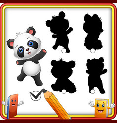 Find the correct shadow cartoon funny baby panda vector