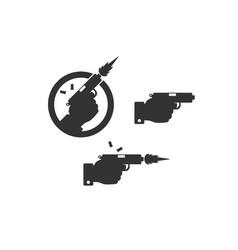 gun icons hand holding gun vector image