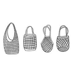 Hand drawn zero waste net bags for shopping vector