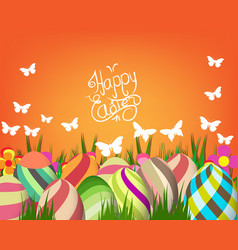 Handwriting inscription happy easter template vector