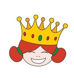 Happy little princess head in crown vector image