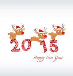 Happy new year with deer vector