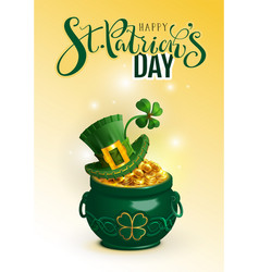 happy st patricks day text greeting card green vector image