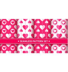 heart seamless pattern set love valentine romantic vector image