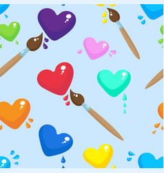 hearts and brushes seamless pattern background vector image