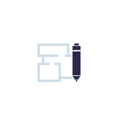 home plan and pen icon vector image